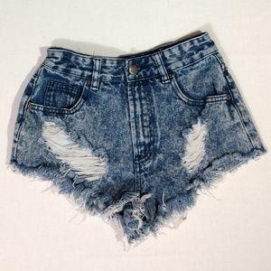 Forever 21 24 Blue Denim Distressed Cut off Shorts
